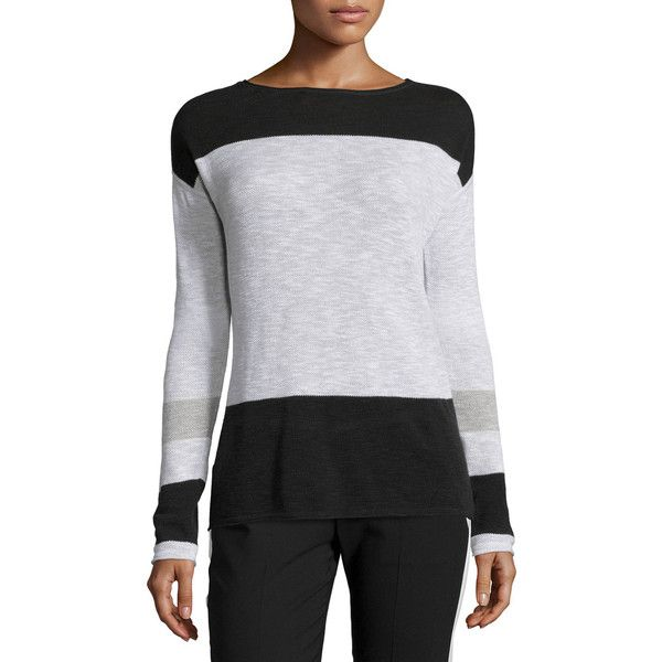 Vince Colorblock Cotton Intarsia Sweater (504.285 COP) ❤ liked on ...