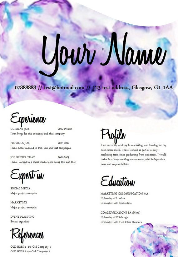 watercolor resume - Google Search resume inspiration Pinterest - first class honours