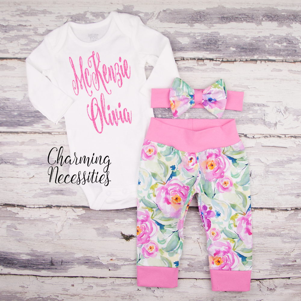 e0a6c37e1aafa Personalized Newborn Coming Home Outfit, Baby Toddler Girl Fall ...