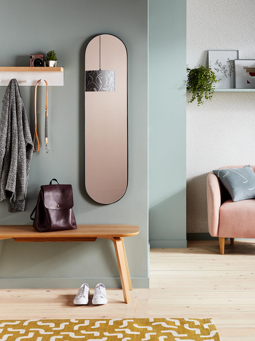 House by John Lewis Ellipse Hallway Mirror, 122 x 32cm ...