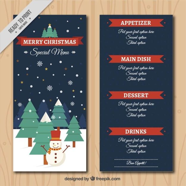 Christmas menu template with winter landscape #Free #Vector - sample drink menu template