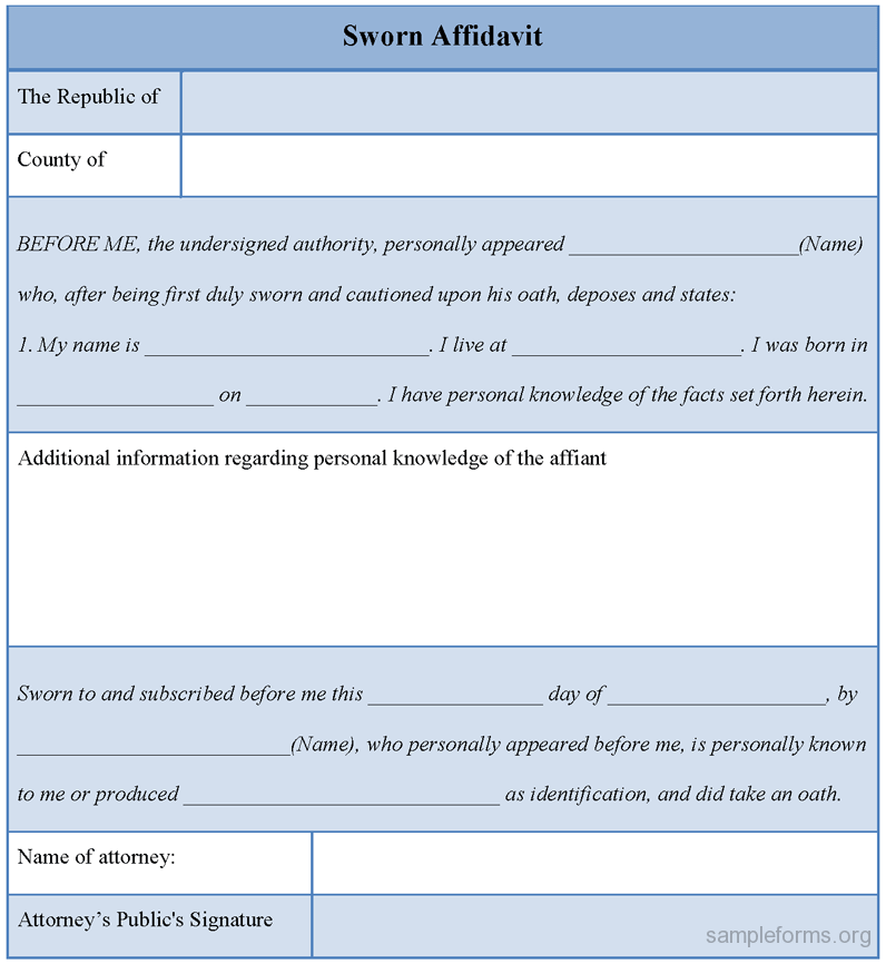 Sworn Affidavit Form Sworn Affidavit Form  Affidavit Forms