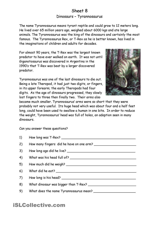 Dinosaurs   Dinosaur worksheets [ 1440 x 1018 Pixel ]