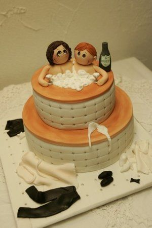 Non Standard And Funny Wedding Cake With Decoration