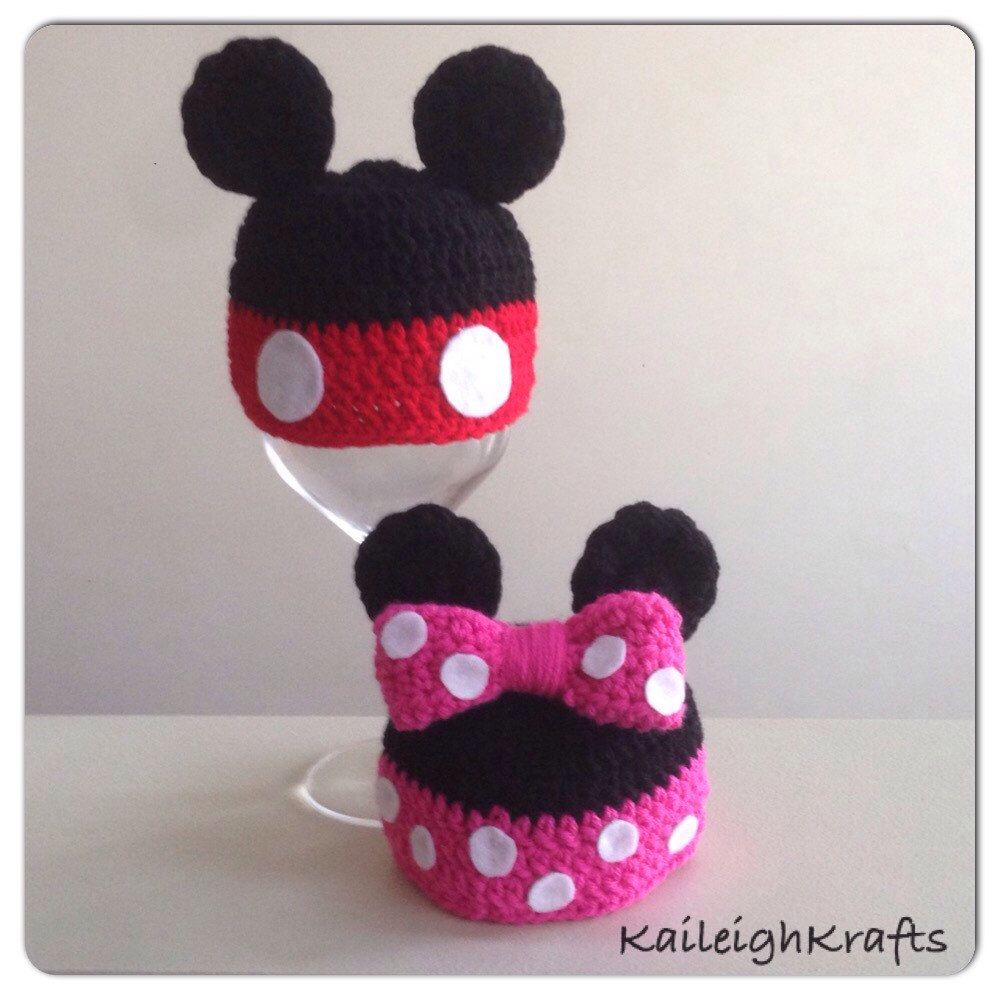 Mickey and Minnie Mouse Inspired Beanie Crochet Hats/ Costume Hats ...