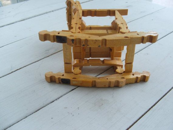 Sedie Fatte Con Mollette Di Legno.Vintage Wooden Clothespin Doll Rocking Chair Tramp Folk Art Fai