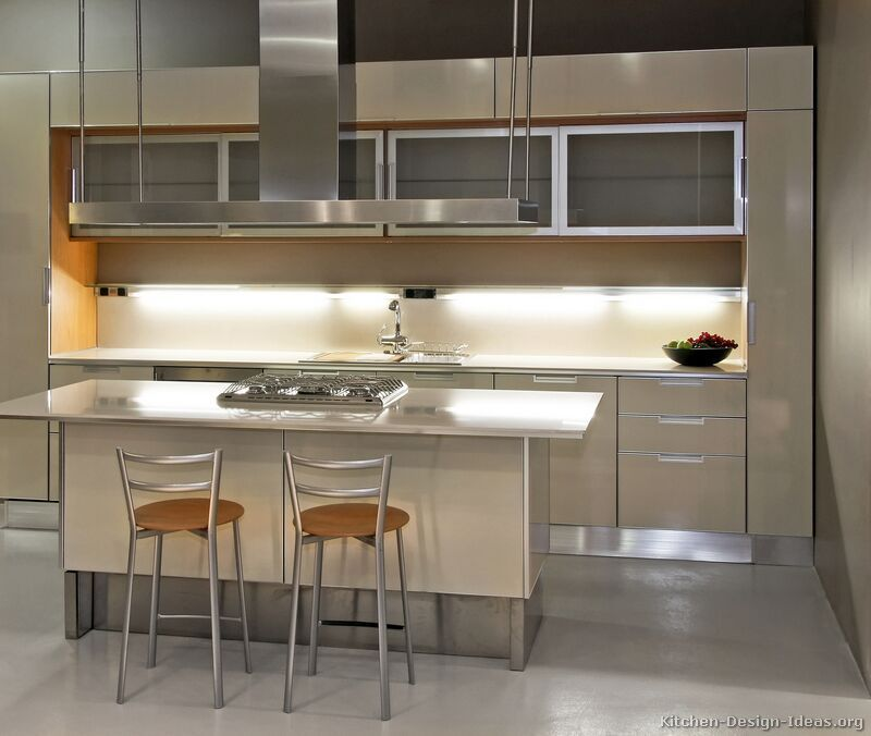 Modern Beige Kitchen Cabinets #TT31 (Kitchen Design Ideas.org)