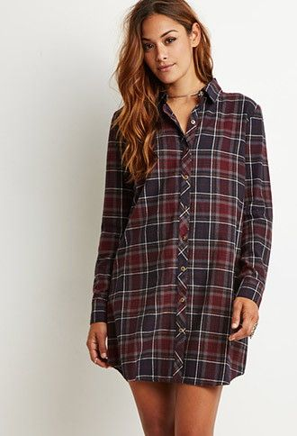 f87e46b1b55 Plaid Flannel Shirt Dress