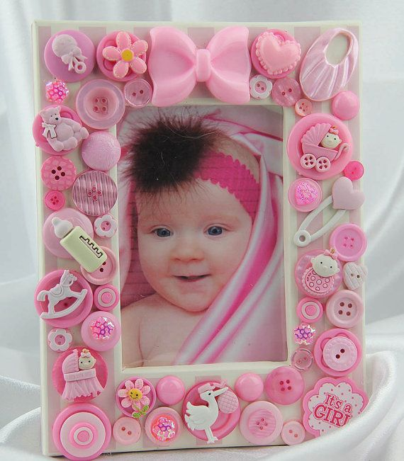 Children's Pink Baby Button Picture Frame by ItsAShoreThingStudio