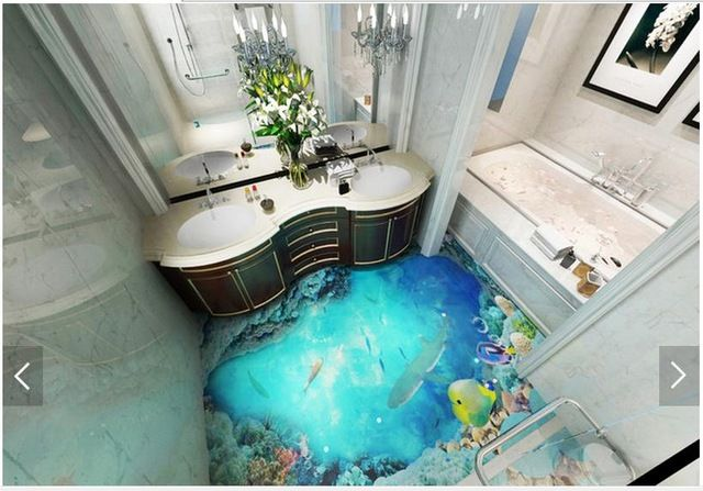 3d Wallpaper Customized 3d Floor Painting Wall Paper 3d Dark Ocean Floor Tile Stereograph Bathroom Floor Living Sea Bathroom Decor Floor Wallpaper Sea Bathroom