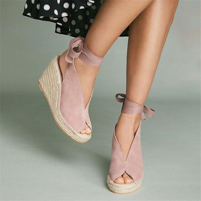 fd8552d9d Shop Wedges - Nokula Wedges Wedge Heel Lace-Up Wedges Peep Toe Pink Wedges  online. Discover unique designers fashion at nokula.com.