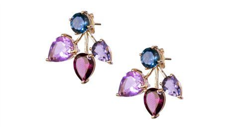 JewelMak blue topaz and amethyst front and back earrings