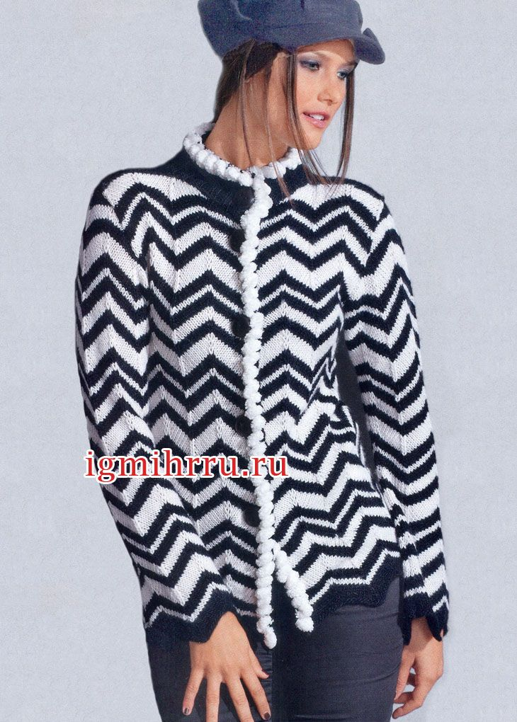 chaqueta de color blanco y negro con un patrón de zig-zag. tejido de ...