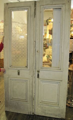 Pair Of Antique Front Doors Each Door Is About 24 Inch Wide And 84 Tall Only 1 Has The Etched Glass So You Could Take Th Double Pane Glass Front Door Allegan