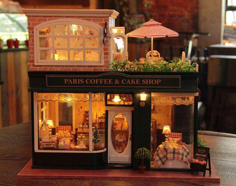 Dollhouse Miniature Cafe Furniture Diy Kit Paris Cafe Dollhouse Miniatures Diy Miniature Cafe Diy Dollhouse