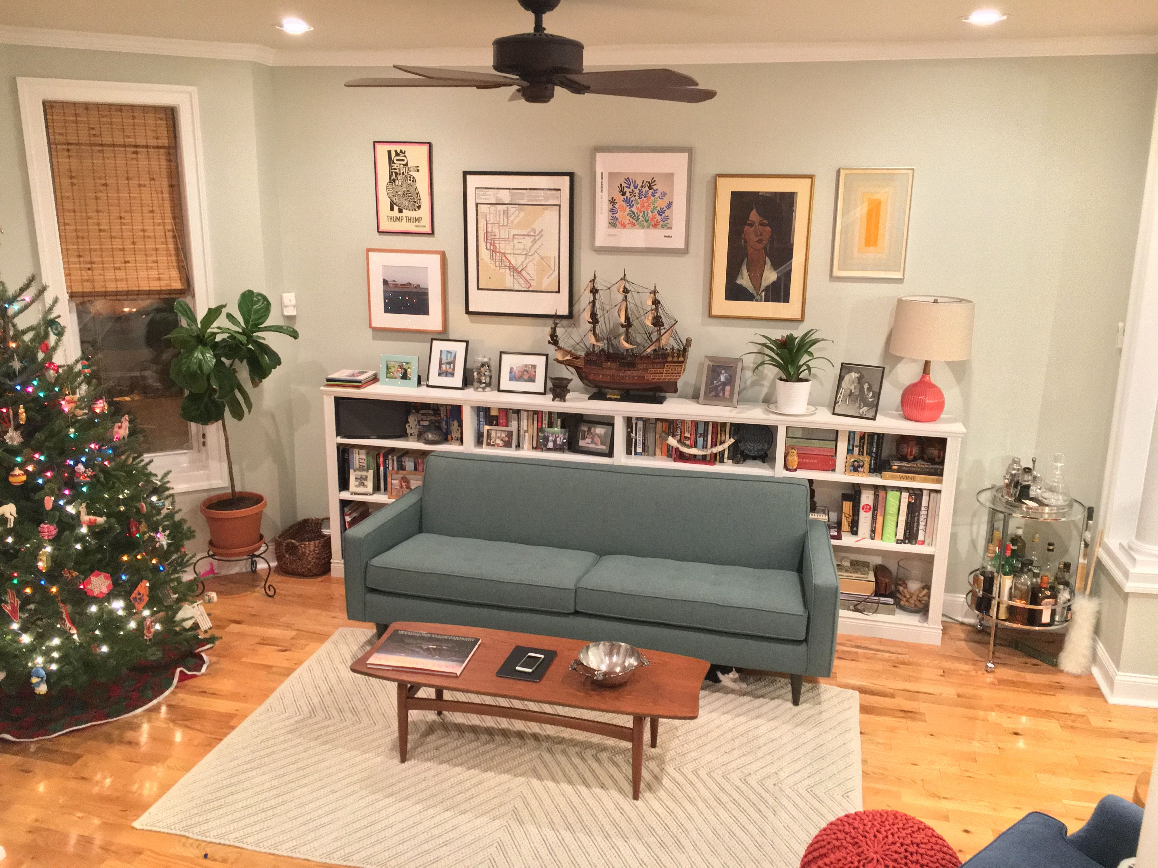 mid century living room with billy shelf ikea hack  mid