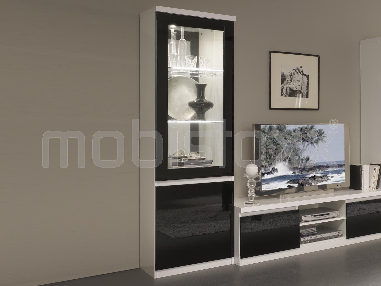 Vitrine Romeo 2 Portes Blanc Laque Noir Laque Avec Led 1 Meubles  # Meuble Tv Avec Vitrine