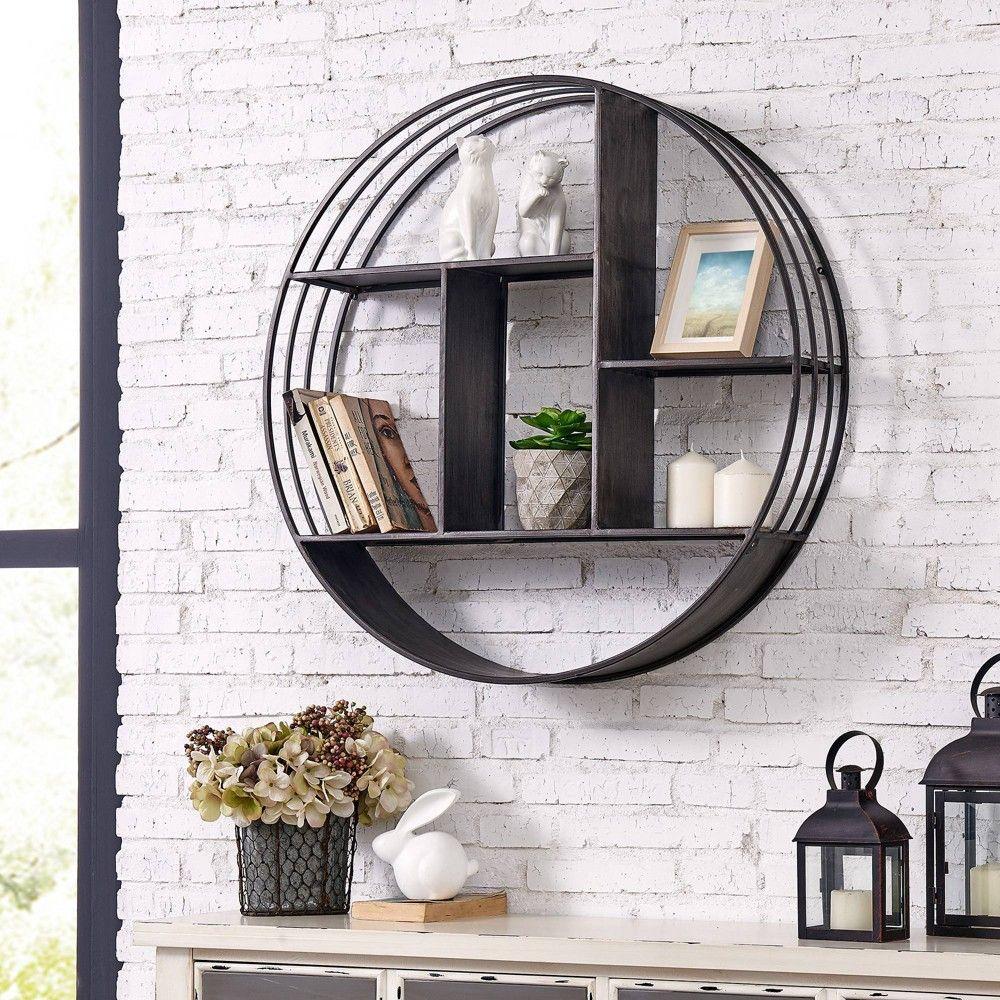 Brody Industrial Circular Shelf Gray Firstime Co Deep Grey