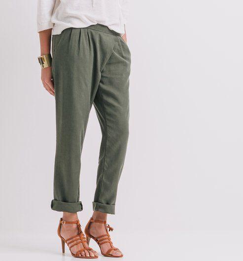 Pantalon carrot Femme kaki , Promod