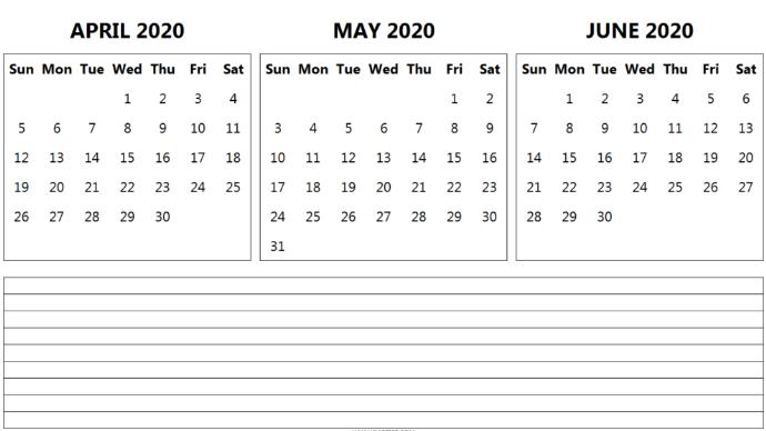 Free April May June 2020 Calendar Printable Template In 2020