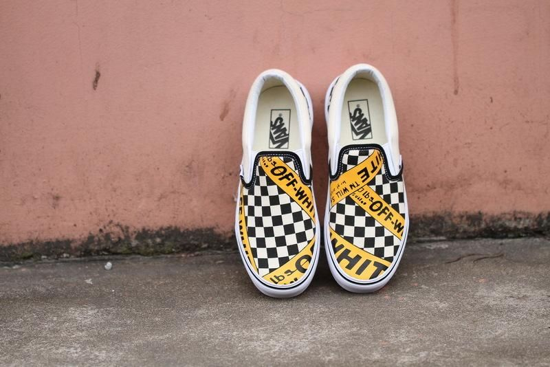 ce1c4dcc08 Vans USA.AMAC Customs CheckerBoard Slip-On Classic Yellow Black White  Womens Shoes