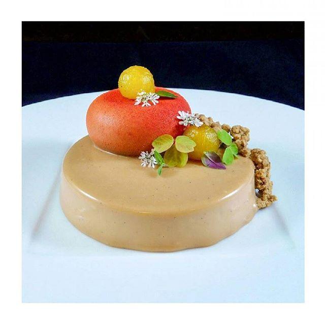 Pastry Chef Michael Craigs exquisite dessert featuring DULCEY blond chocolate left us speechless! #regram @pcmichaelcraig: peach molasses saffron #dulcey. #valrhona #chocolate #dessert #pastrychef #theartofplating #gastroart #pastrylife #pastrylove #chefsofinstagram #vibrant by valrhonausa