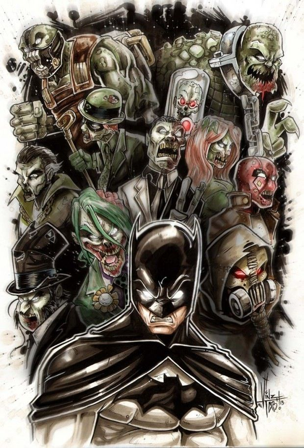 Batman Vs The Zombified Rogues Gallery