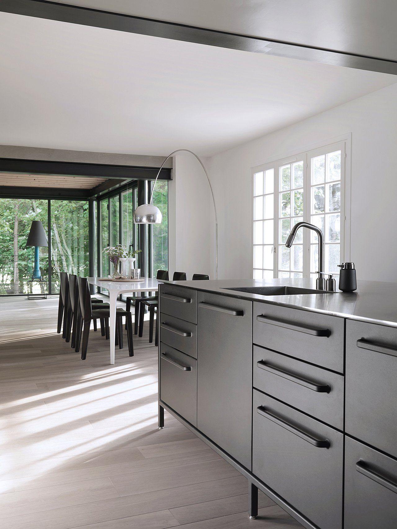 Black modular kitchen in Brittany, France   k i t c h e n ...
