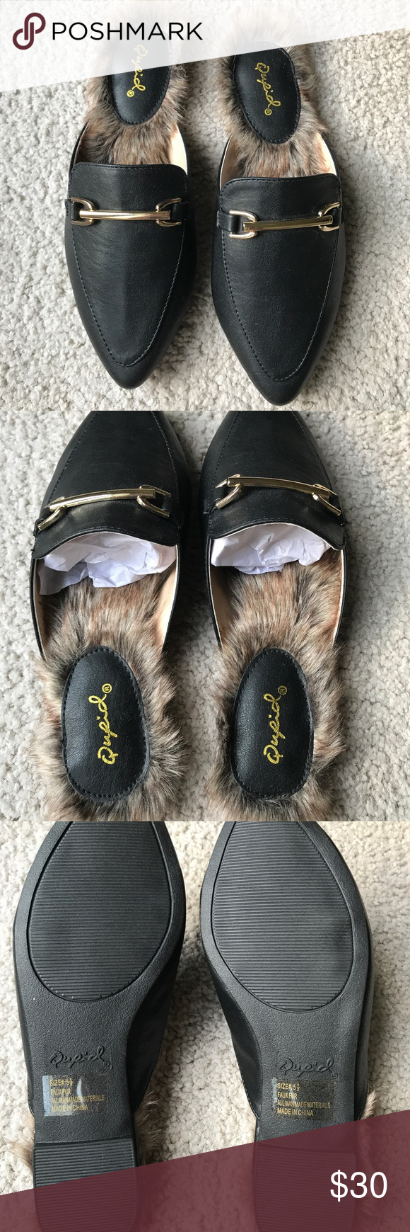 b5e418d38ec Swirl Black Loafer Slides ✨ BRAND NEW✨ never worn pointed black loafer  slides with faux fur. Qupid Shoes Flats   Loafers