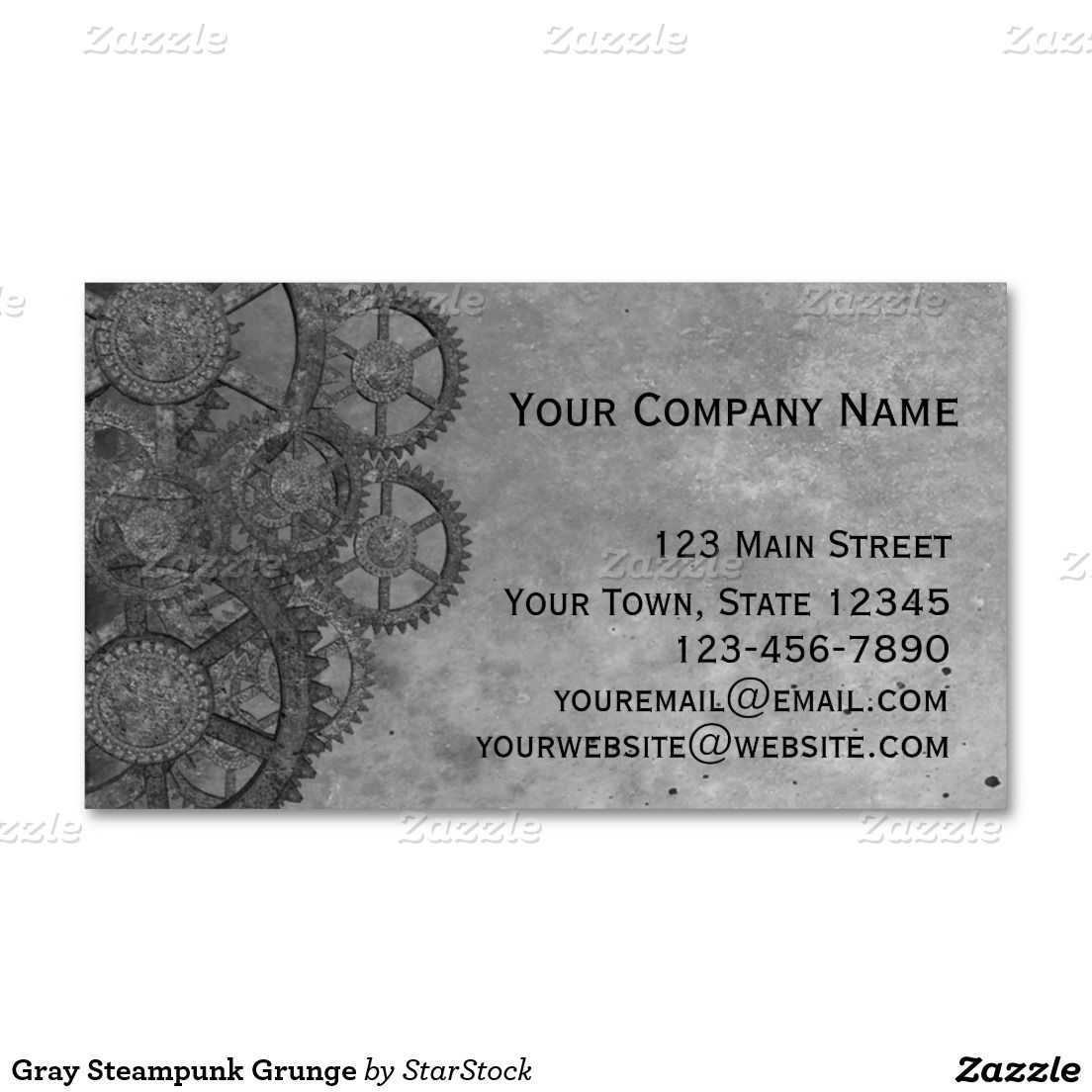 Gray Steampunk Grunge Business Card | Grunge, Business cards and ...
