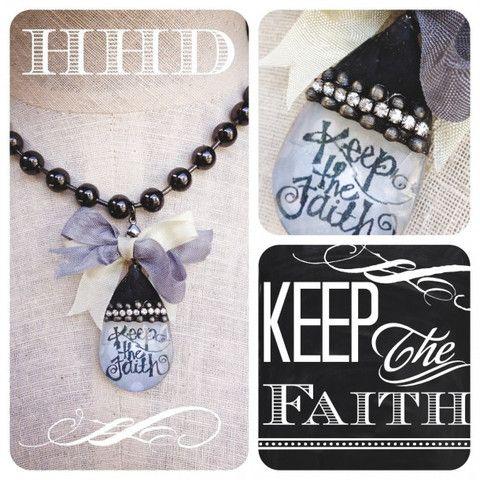 Vintage Chandelier Keep the Faith on a Jumbo chain – Heather Hansen Designs