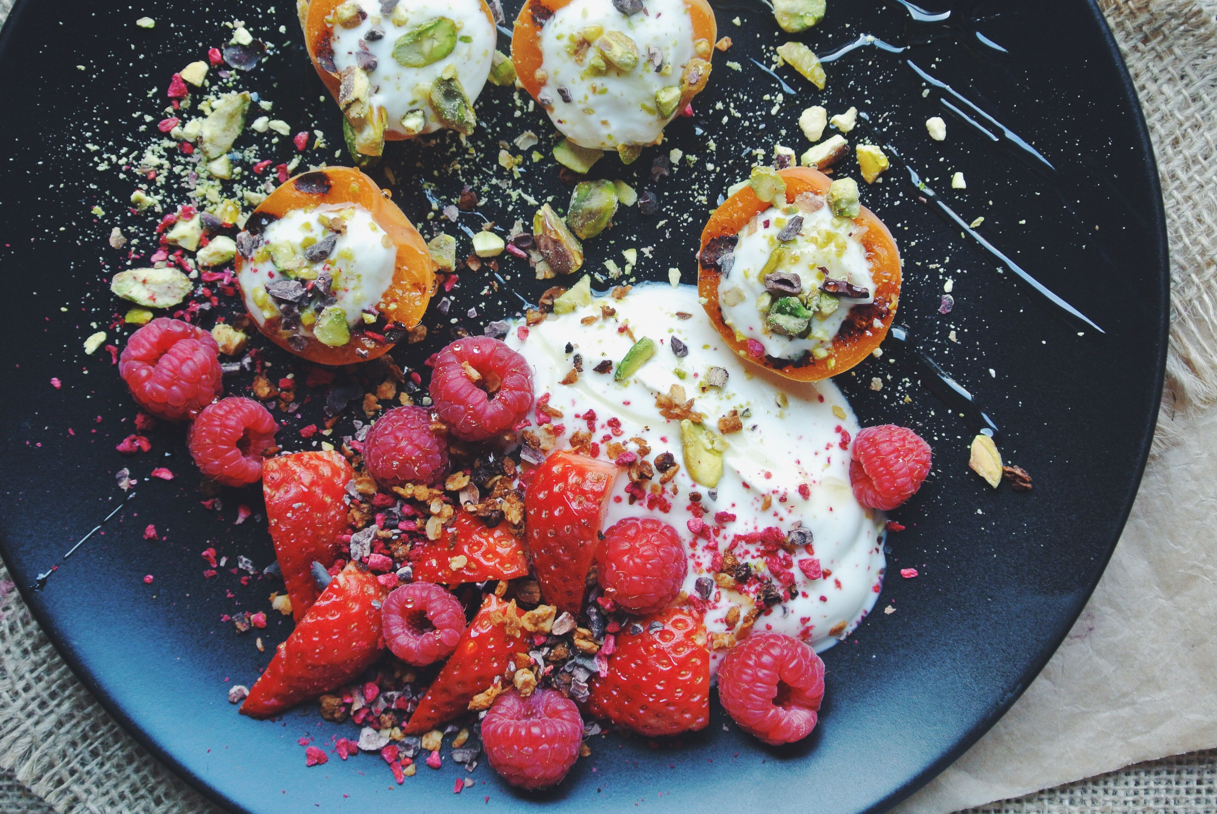 Grilled Apricots, Yoghurt, Berries, Pistachio and Honey