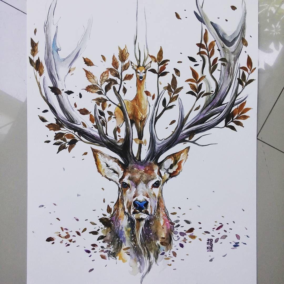 """Image De Art Deer And Drawing: Good Morning Bali. """"Natural Spirit"""" Watercolors On"""