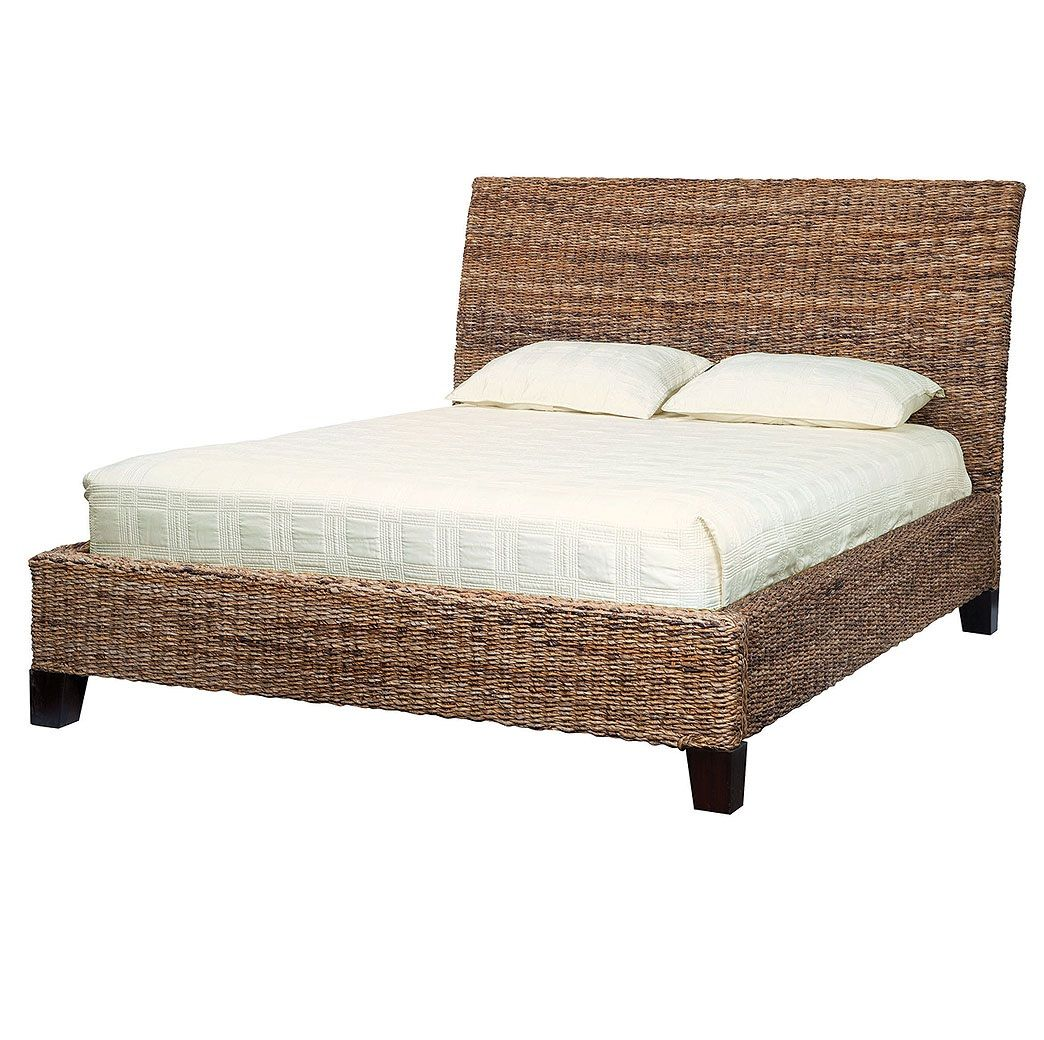 lanai banana leaf woven queen bed - Wicker Bed Frame