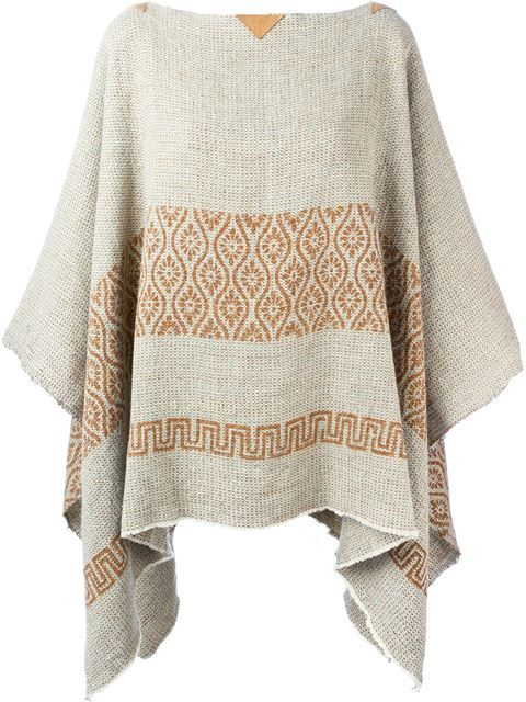 Shop Ermanno Gallamini knitted poncho in Caron from the world\'s best ...