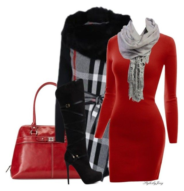 """""""Plaid Coat n' Solid Dress"""" by stylesbyjoey ❤ liked on Polyvore featuring Giani Bernini, Doublju, Brokedown, JustFab, Boots, scarves, redandblack, sweaterdress and plaidcoat"""