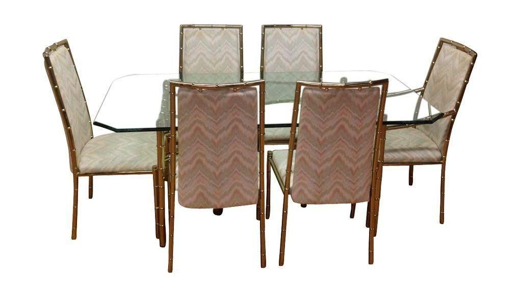 brass bamboo dining set with 6 chairs on chairishcom
