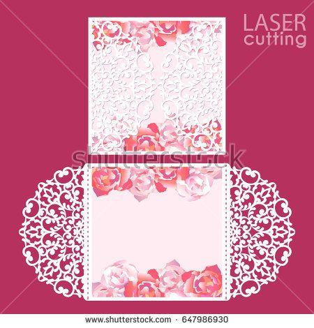 Laser cut wedding invitation card template vector Die cut paper - greeting card format