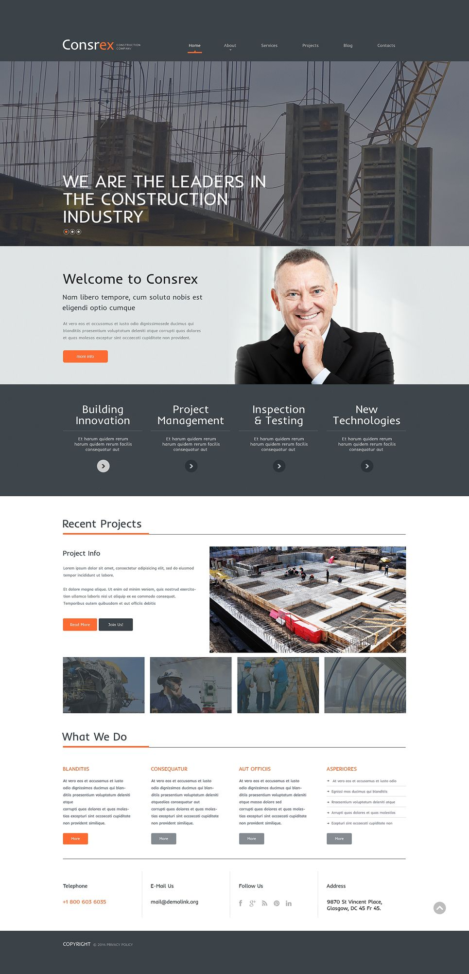 Construction Company Responsive WordPress Theme | Wordpress and ...