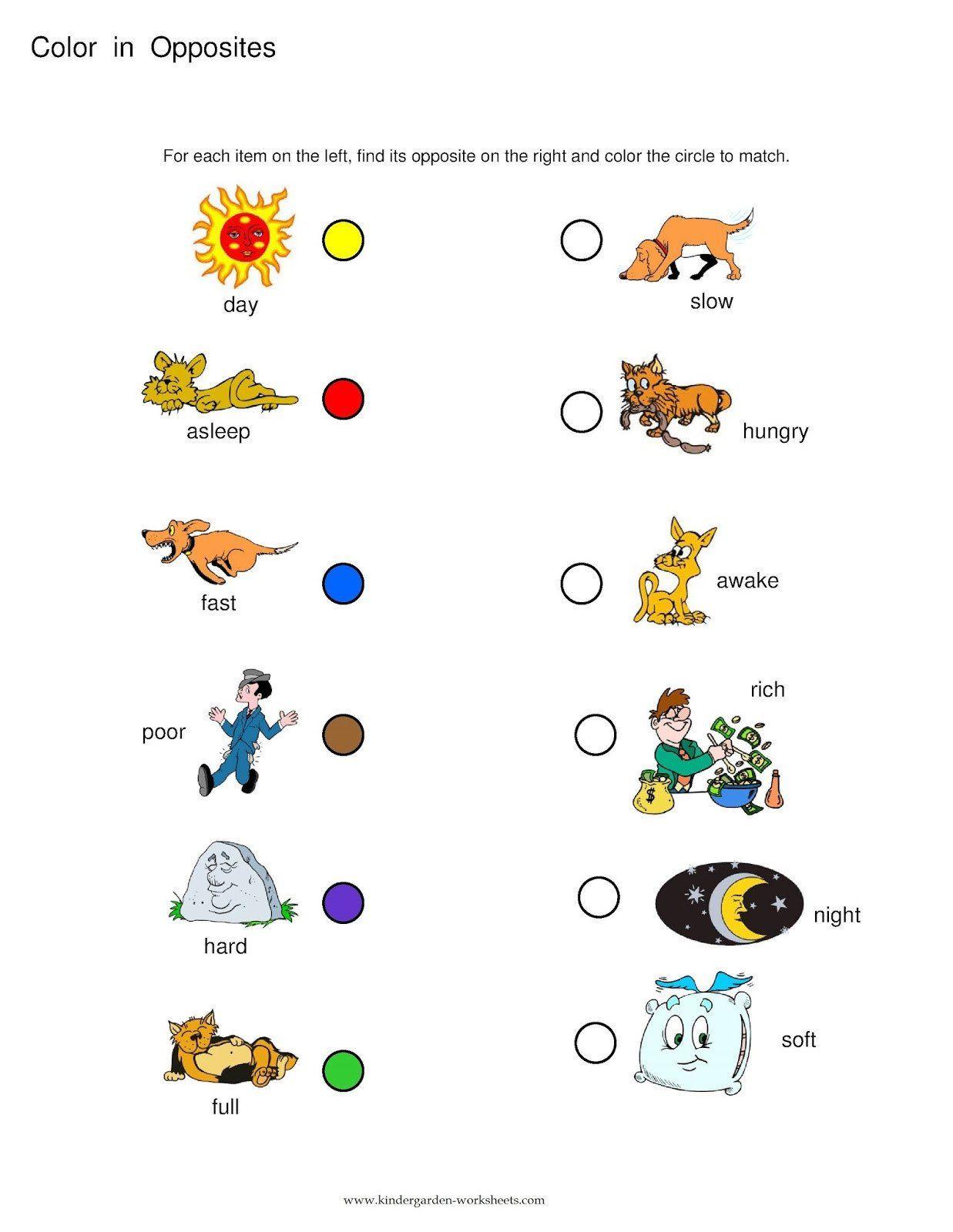 Opposites Worksheet For Kindergarten Premium Kindergarten