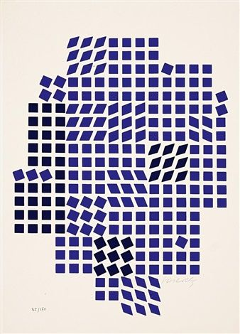 Code (Les Bleus) by Victor Vasarely