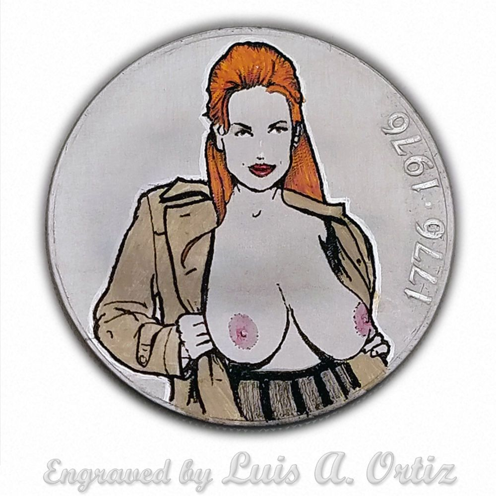 Flasher! S1153 Ike Hobo Nickel Engraved & Colored Pinup by Luis A Ortiz