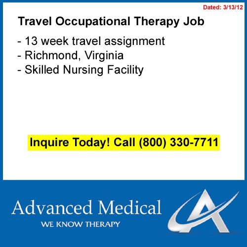 New opportunity for a travel occupational therapist in Richmond