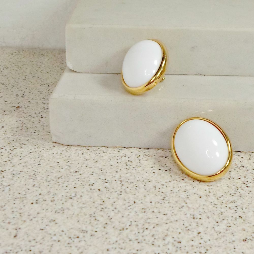 TRIFARI earrings signed goldtone oval white domed cabochon one inch pierced #Trifari #pierced