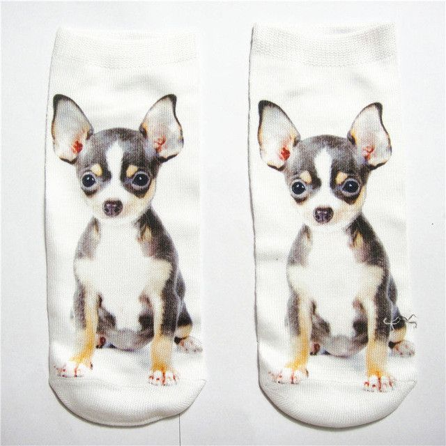 Animal Funny Cute dogs 3D Printed White Solid Women Girls Low Cut ...