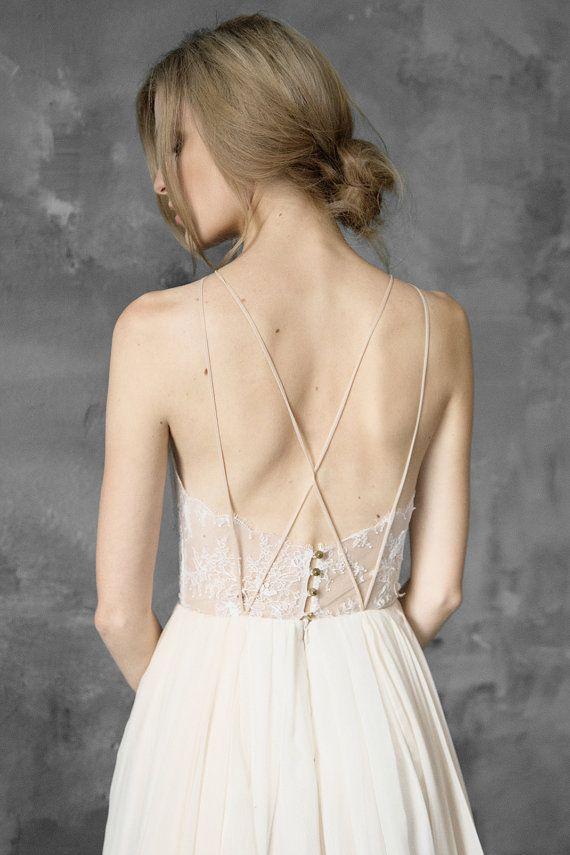Spitze und chiffon Neckholder-Brautkleid offenen Rücken ...