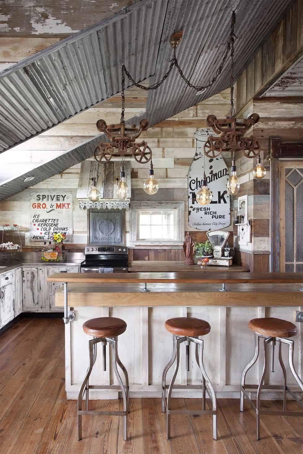 Rustic Farmhouse Kitchen With Galvanized Steel By Countryliving Com Rustic Farmhouse Kitchen Rustic Kitchen Decor Rustic Kitchen