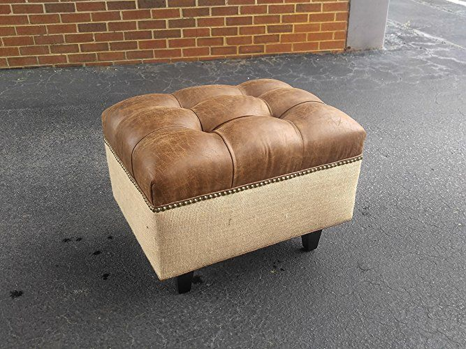 Design 59 Inc 30 Square Distressed Vegan Leather Tufted Coffee