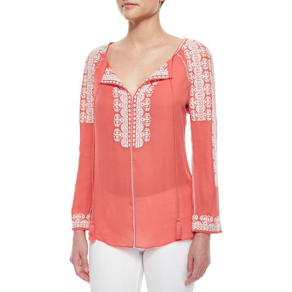 Tory Burch Tie-Neck Long-Sleeve Embroidered Silk Tunic ($198) ❤ liked on Polyvore featuring tops, tunics, crlwht, long sleeve tunic, see through tops, silk tunic, red long sleeve top and long sleeve tops