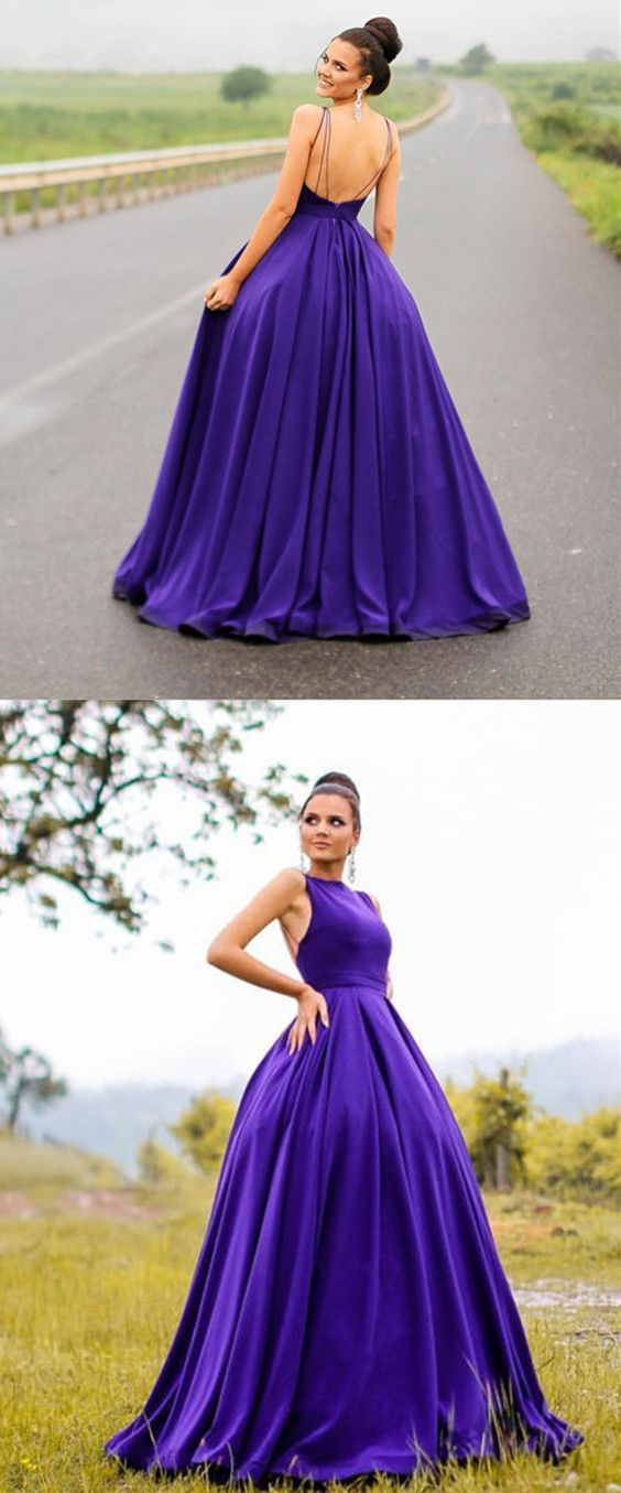 Long Satin Open Back Ball Gowns Prom Dresses 2018 Formal Evening